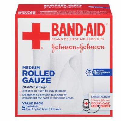 Band-Aid First Aid Covers Kling Rolled Gauze, Medium 5 ea Pack of 3