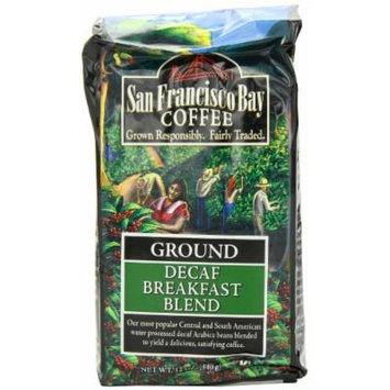 San Francisco Bay Coffee Ground, Decaf Breakfast Blend, 12 Ounce
