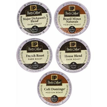 New! 20 K-cup Peets Coffee Sampler Variety Pack *No Decaf* (2014 Brazil Minas Naturais, Cafe Domingo, House Blend, Major Dickasons, French Roast)