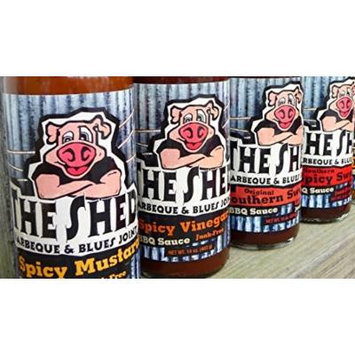 The Shed Barbeque & Blues Joint BBQ Sauce Sampler 13.5oz-15oz Bottle (Variety Pack of 4 Different Flavors)