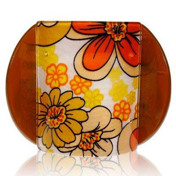 Lucia Flowers Print Brown Large Hair Clip Clamp