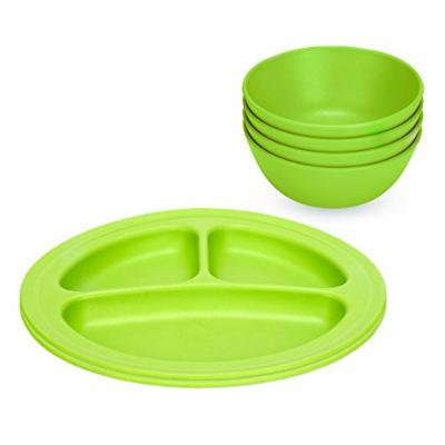 Green Eats 2 Pack Divided Plates & Snack Bowls, Green