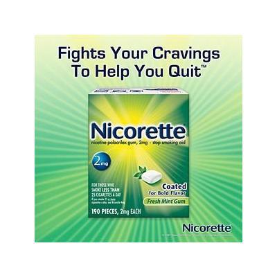 Nicorette Fresh Mint 2mg Coated Gum Nicotine Polacrilex Gum - 190 Pieces