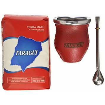 Taragui Yerba Mate + Bombilla + Glass & Leather Gourd