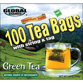 Global Brands Premium 100 Tea Bags with String (Green Tea)