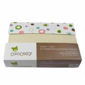 OsoCozy 6 Pack Prefolds Unbleached Cloth Diapers Size 1