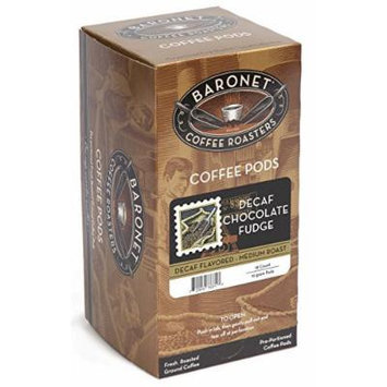 Baronet Coffee Decaf Chocolate Fudge, Medium Roast, 18-Count Coffee Pods (Pack of 3)