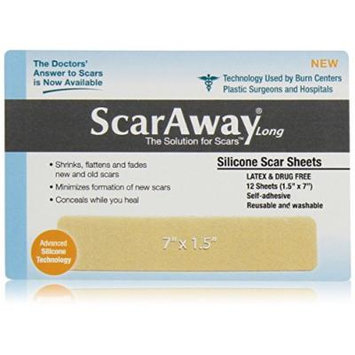 Scaraway Long Silicone Scar Healing Sheets - Contains the Full Dr. Recommended 24 Week Supply (2 pack of 12 sheets)