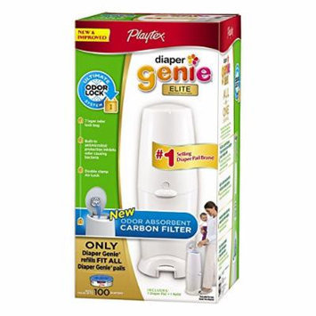 Playtex Diaper Genie Elite Pail System with Odor Lock Carbon Filter, New Mega Size Package 100 Count (Pack of 2)