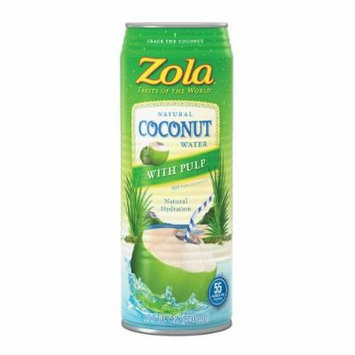 Zola Coconut Water with Pulp, 17.5 Ounce (Pack of 12)