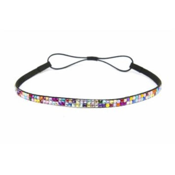 Two Row Bling Rhinestone Headband/ Elastic Stretch/ Rhinestone Hair Band Hair Accessory (Rainbow Thin Headband)