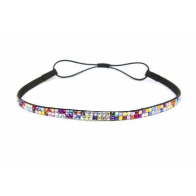 Two Row Bling Rhinestone Headband/ Elastic Stretch/ Rhinestone Hair Band Hair Accessory (Rainbow Thin Headband)