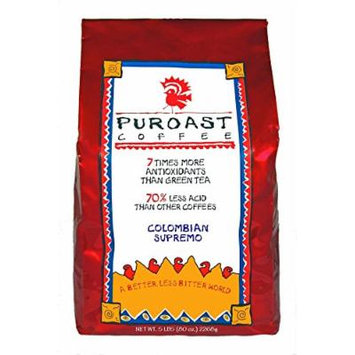 Puroast Low Acid Coffee Colombian Supremo Blend Whole Bean, 5 Pound Bag