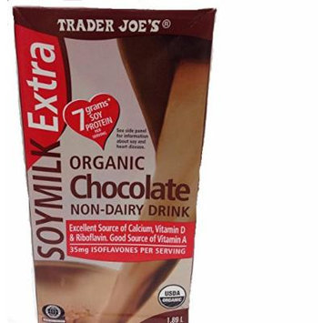 Trader Joe's Organic Chocolate Soy Milk Extra in 64 Oz Container