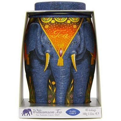 Williamson Earl Grey Elephant Tea Caddy - Includes 40 Kenyan Earl Grey Tea Bags in a Reusable and Stylish Elephant-Themed Container