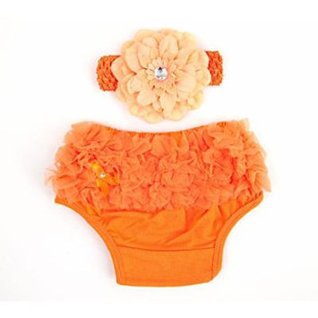 Ema Jane Ruffled Woven Baby Diaper Bloomer Covers (Choose From Many Colors or Styles) (3 months to 18 months, Orange with Accessory)