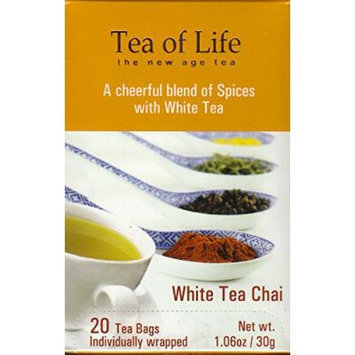 Tea of Life Teas - 20 Individually Wrapped Bags (White Tea Chai)