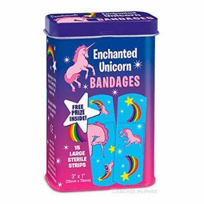 15 Pack Enchanted Unicorn Adhesive Bandages Tin w/ Prize