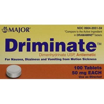 Driminate Generic for Dramamine Motion Sickness 50 mg Anti Nausea 100 ea PACK of 3