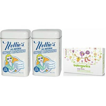 Nellie's All-Natural Oxygen Brightener Tin, 2 Pack with Babyganics (120 Count) Dryer Sheets