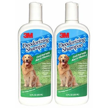 3M Deodorizing Pet Shampoo with Aloe and Vitamin E (12 Ounces) (2 Bottles)