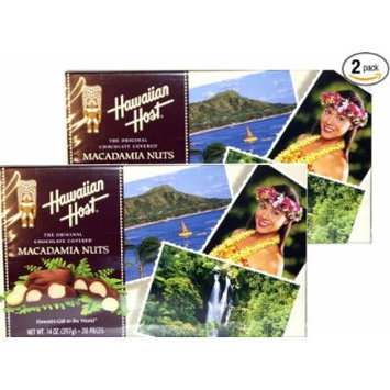 Hawaiian Host The Original chocolate Covered MACADAMIA NUTS BOX 14 OZ (397 g) Pack of 2