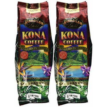 Hawaiian Gold Kona Coffee Gourmet Blend Ground 1 Lb. (Pack of 2)
