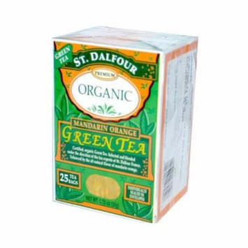 ST. DALFOUR Organic Green Tea, Tea Bags, Mandarin Orange, 1.75 Ounce Bags, 25 Count Box