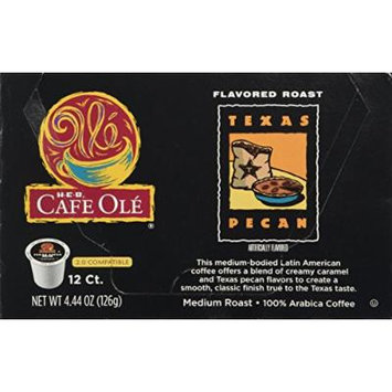 HEB Cafe Ole Coffee K-Cup 12ct Box (Pack of 4) (48 K-Cups) (Texas Pecan - Medium Bodied (blend of caramel and pecan flavors))