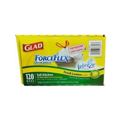 Glad ForceFlex OdorShield Tall Kitchen Drawstring Trash Bags, 13 Gallon - 120 Bags, Fresh Lemon Scent