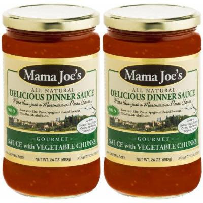 Mama Joe's Delicious Gourmet Sauce with Vegetable Chunks. MILD All Natural Gluten Free No High Fructose Corn Syrup Low Sodium (180mg) 2 Pack - 24oz Big Jars. Pasta Spaghetti Rice Potatoes Meatballs