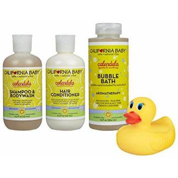 California Baby Shampoo & Body Wash, Conditioner and Bubble Bath Set with Bonus Bath Duck, Calendula