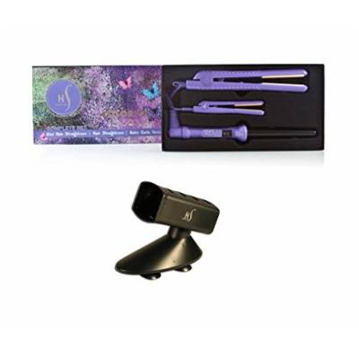 NIB Herstyler Purple Colorful Seasons Ceramic Flat Iron Hair Straightener, Mini Straightener & Baby Curls Grande Set w/ Free Tool Holder
