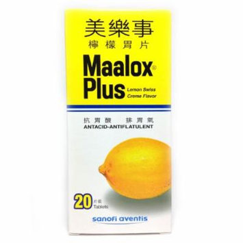 Maalox Plus Antacid 20 Tablets Lemon Swiss Creme Flavor