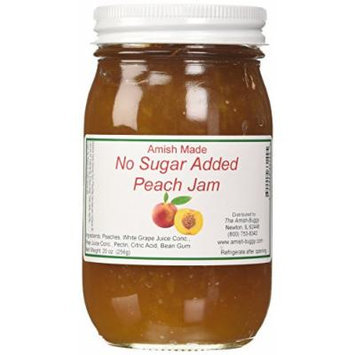 Amish Buggy No Sugar Added Jam, Peach, 16 Ounce (Pack of 12)