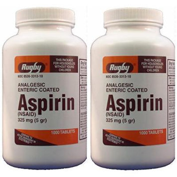 Aspirin Generic for Ecotrin Enteric Coated 325 Mg 1000 Tablets per Bottle Pack of 2 Total 2000 Tablets