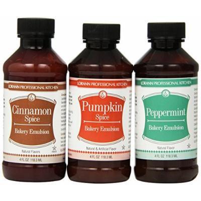 Lorann Oils Bakery Emulsion Bundle, Cinnamon Spice, Peppermint and Pumpkin Spice, 12 Fluid Ounce