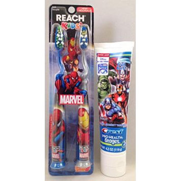 Marvel Reach Spiderman Soft Toothbrush 2 Pack & Marvel Avengers Crest Toothpaste (Bundle Pack 2 Items)