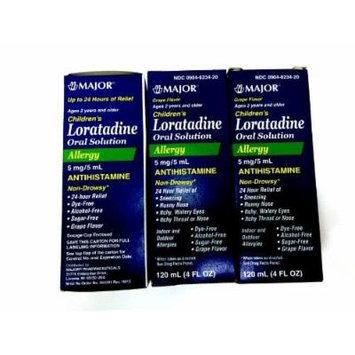 Chilrden Allergy 24 Hour Relief Antihistamine Loratadine 5mg/5ml Grape Flavor, 120 mL (3 Packs)