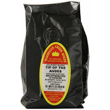 Marshalls Creek Spices Gourmet Decaf Ground Coffee, Tip of The Andes, 12 Ounce