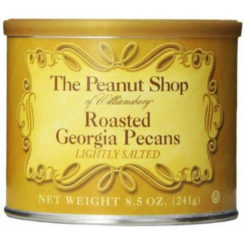 The Peanut Shop of Williamsburg Roasted Georgia Pecans, Lightly Salted, Tin, 8.5 Ounce