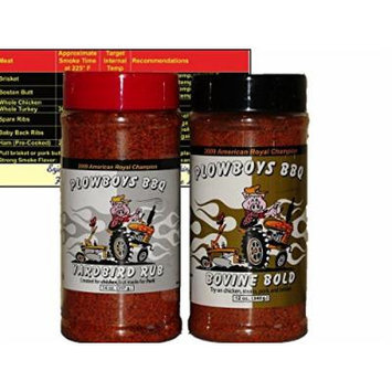 Plowboys Championship Barbecue BBQ Dry Rub Bundle (Plowboys Yardbird 14 oz and Bovine Bold 12 oz) with Complimentary Miniature Meat Smoking Guide Magnet