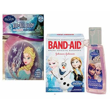 Disney Frozen Safety First Boo Boo Buddy Resuable Cold Pack Soothes Bumps & Bruises & Band-aid Brand Forzen Adhesive Bandages! Plus Bonus Frozen Antiseptic Hand Cleansing Gel