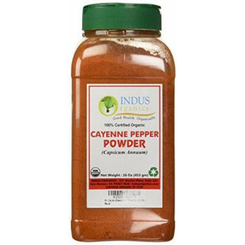 Indus Organic Cayenne Pepper Powder, 60,000 Shu, 1 Lb Jar, High Purity, Freshly Packed...