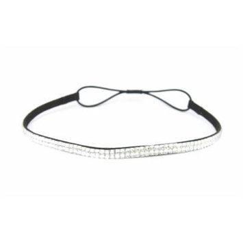 Two Row Bling Rhinestone Headband/ Elastic Stretch/ Rhinestone Hair Band Hair Accessory (Clear Thin Headband)