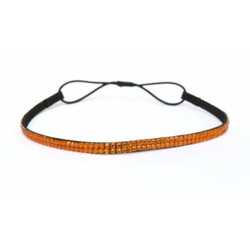 Two Row Bling Rhinestone Headband/ Elastic Stretch/ Rhinestone Hair Band Hair Accessory (Orange Thin Headband)