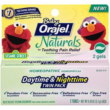 Orajel Naturals Teething Daytime and Nighttime, 0.18 Oz, Twin Pack