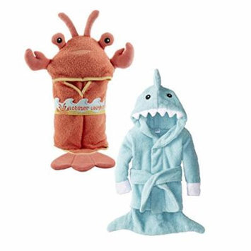 Baby Aspen Terry Cotton Hooded Baby Bath Robe, Twin Pack, Lobster/Shark