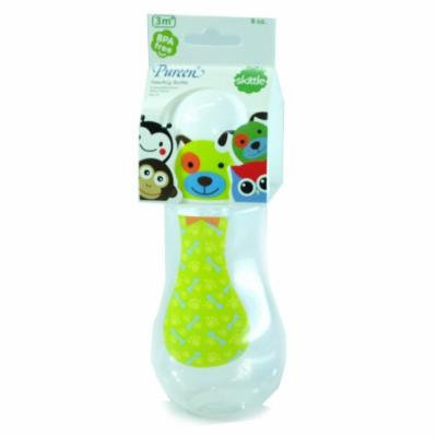 New Pureen Skittle Baby Feeding Bottle BPA Free 8 oz with nipple size M for 3 months+ (Dog)
