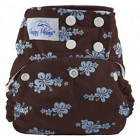 Happy Heinys ONE for ALL One Size Cloth Diaper with Snap Closure + 2 Microfiber Inserts (Blue Hibiscus)